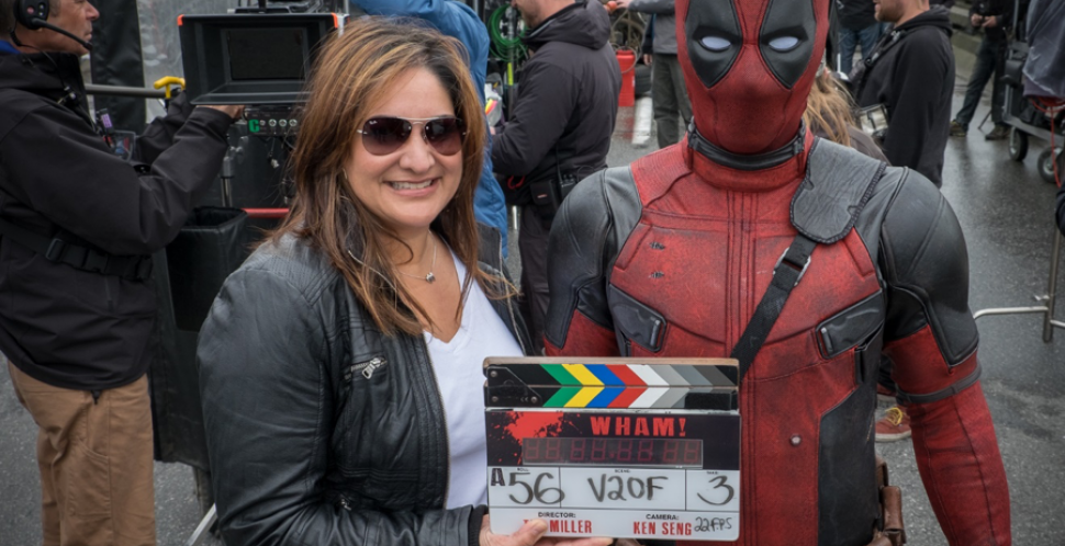 DE&I expert Nancy Mott visits with Ryan Reynolds on the set of Deadpool.