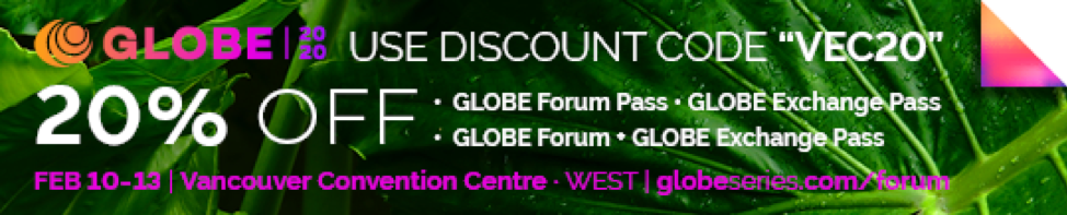 """Use discount code """"VEC20"""" for 20% off GLOBE Forum Passes and GLOBE Exchange Passes."""